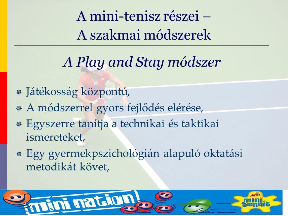 evolve9 Mike Barrell Budapest October 2005 A Play and Stay módszer  Játékosság központú,  A módszerrel gyors fejlődés elérése,  Egyszerre tanítja a technikai és taktikai ismereteket,  Egy gyermekpszichológián alapuló oktatási metodikát követ, A mini-tenisz részei – A szakmai módszerek