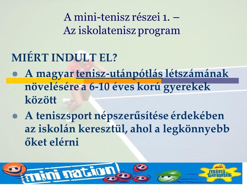 Budapest Oct2005 Mike Barrell MIÉRT INDULT EL?  A magyar tenisz-utánpótlás létszámának növelésére a 6-10 éves korú gyerekek között  A teniszsport né