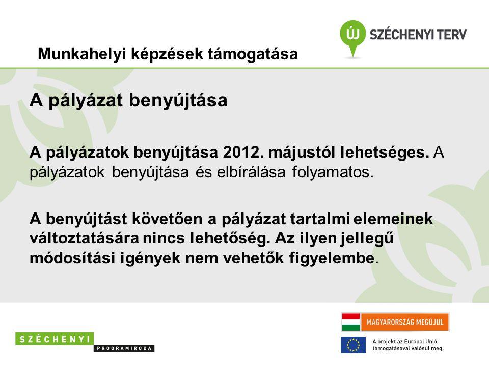 A pályázat benyújtása A pályázatok benyújtása 2012. májustól lehetséges. A pályázatok benyújtása és elbírálása folyamatos. A benyújtást követően a pál