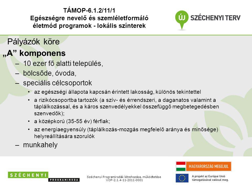 """Széchenyi Programirodák létrehozása, működtetése VOP-2.1.4-11-2011-0001 Pályázók köre """"A"""" komponens –10 ezer fő alatti település, –bölcsőde, óvoda, –s"""