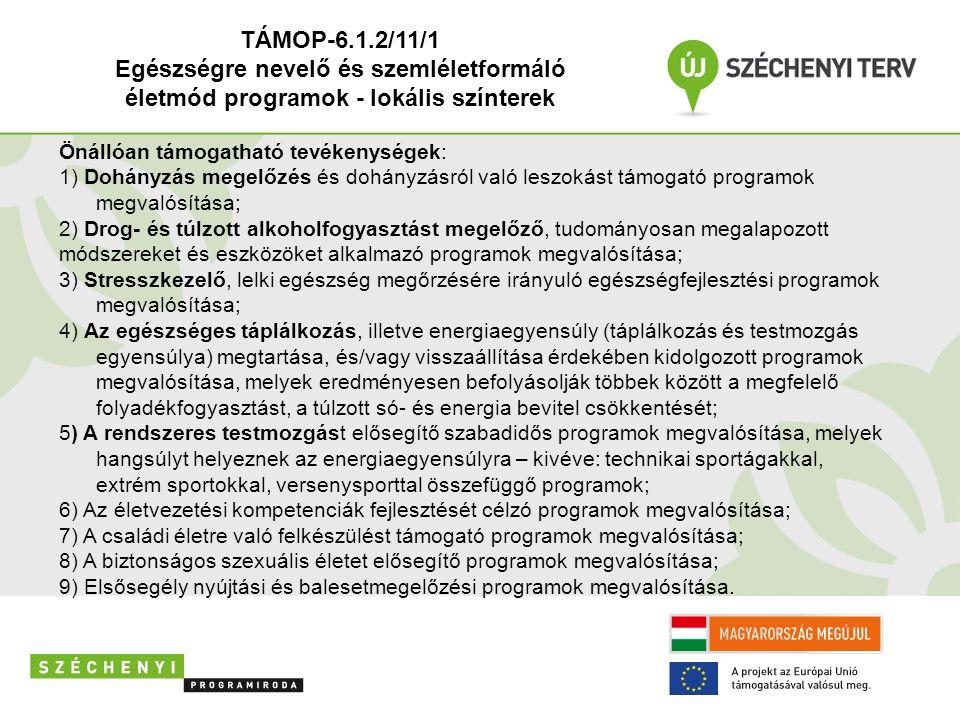 Önállóan támogatható tevékenységek: 1) Dohányzás megelőzés és dohányzásról való leszokást támogató programok megvalósítása; 2) Drog- és túlzott alkoholfogyasztást megelőző, tudományosan megalapozott módszereket és eszközöket alkalmazó programok megvalósítása; 3) Stresszkezelő, lelki egészség megőrzésére irányuló egészségfejlesztési programok megvalósítása; 4) Az egészséges táplálkozás, illetve energiaegyensúly (táplálkozás és testmozgás egyensúlya) megtartása, és/vagy visszaállítása érdekében kidolgozott programok megvalósítása, melyek eredményesen befolyásolják többek között a megfelelő folyadékfogyasztást, a túlzott só- és energia bevitel csökkentését; 5) A rendszeres testmozgást elősegítő szabadidős programok megvalósítása, melyek hangsúlyt helyeznek az energiaegyensúlyra – kivéve: technikai sportágakkal, extrém sportokkal, versenysporttal összefüggő programok; 6) Az életvezetési kompetenciák fejlesztését célzó programok megvalósítása; 7) A családi életre való felkészülést támogató programok megvalósítása; 8) A biztonságos szexuális életet elősegítő programok megvalósítása; 9) Elsősegély nyújtási és balesetmegelőzési programok megvalósítása.