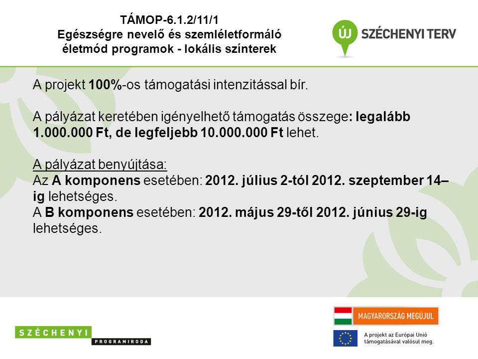 TÁMOP-6.1.2/11/1 Egészségre nevelő és szemléletformáló életmód programok - lokális színterek A projekt 100%-os támogatási intenzitással bír. A pályáza