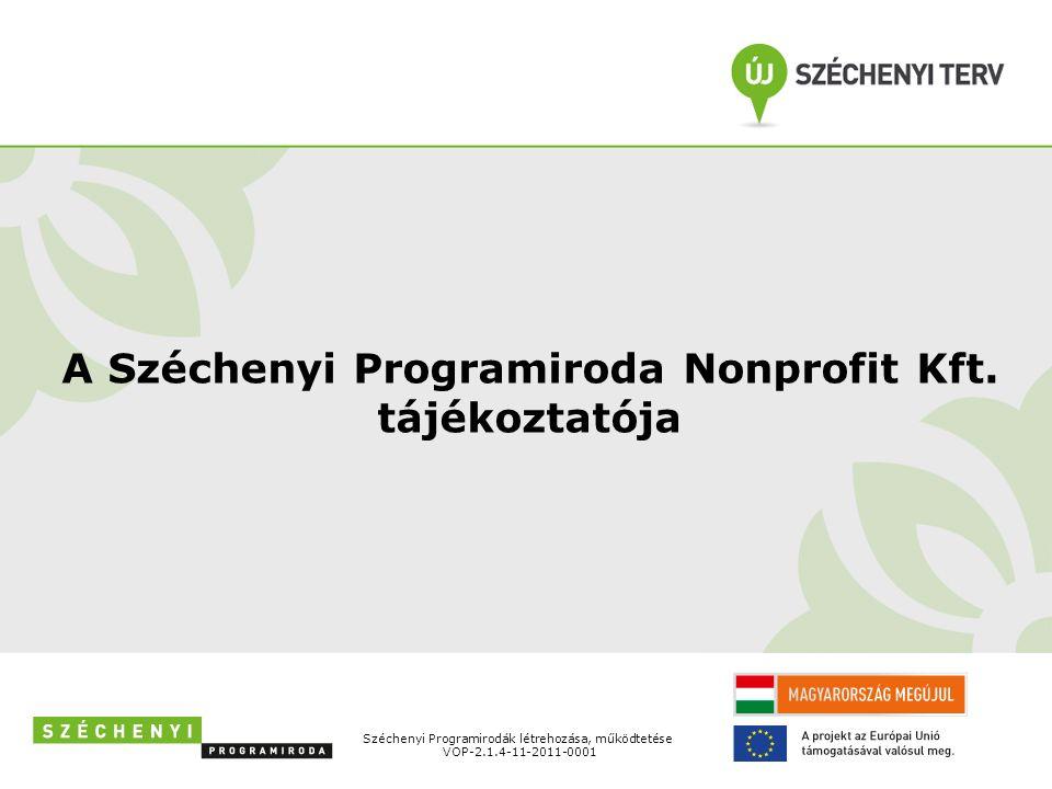A Széchenyi Programiroda Nonprofit Kft. tájékoztatója Széchenyi Programirodák létrehozása, működtetése VOP-2.1.4-11-2011-0001