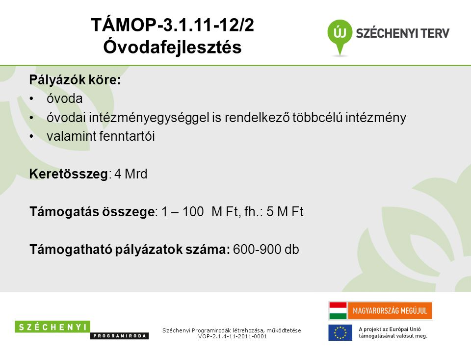 Pályázók köre: óvoda óvodai intézményegységgel is rendelkező többcélú intézmény valamint fenntartói Keretösszeg: 4 Mrd Támogatás összege: 1 – 100 M Ft, fh.: 5 M Ft Támogatható pályázatok száma: 600-900 db Széchenyi Programirodák létrehozása, működtetése VOP-2.1.4-11-2011-0001