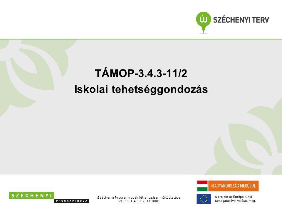 Széchenyi Programirodák létrehozása, működtetése VOP-2.1.4-11-2011-0001 TÁMOP-3.4.3-11/2 Iskolai tehetséggondozás