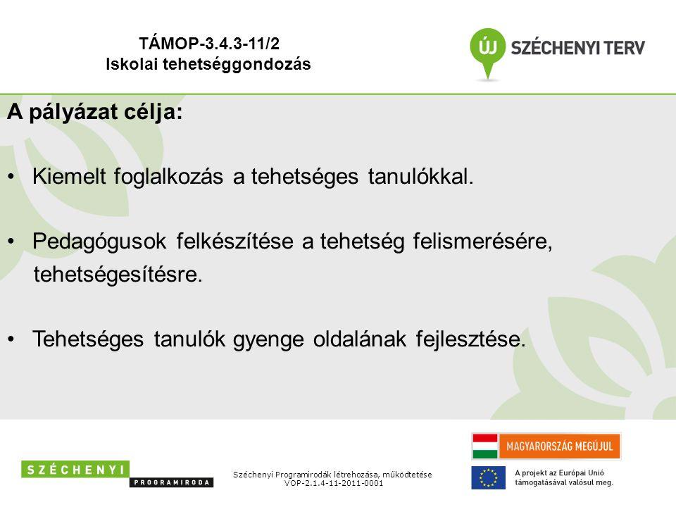 Széchenyi Programirodák létrehozása, működtetése VOP-2.1.4-11-2011-0001 A pályázat célja: Kiemelt foglalkozás a tehetséges tanulókkal. Pedagógusok fel