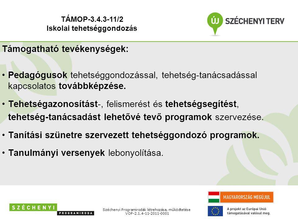 Széchenyi Programirodák létrehozása, működtetése VOP-2.1.4-11-2011-0001 Támogatható tevékenységek: Pedagógusok tehetséggondozással, tehetség-tanácsadással kapcsolatos továbbképzése.
