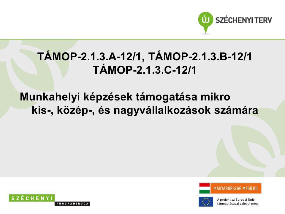 TÁMOP-2.1.3.A-12/1, TÁMOP-2.1.3.B-12/1 TÁMOP-2.1.3.C-12/1 Munkahelyi képzések támogatása mikro kis-, közép-, és nagyvállalkozások számára