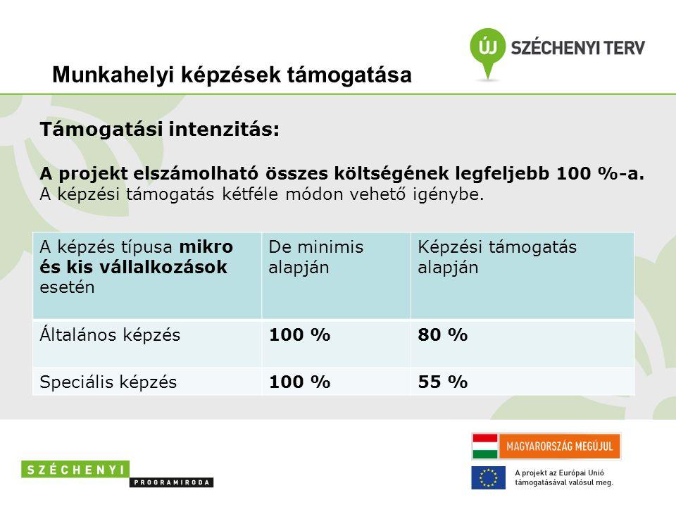 Támogatási intenzitás: A projekt elszámolható összes költségének legfeljebb 100 %-a.