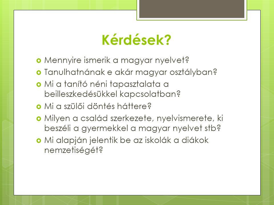 Kérdések.  Mennyire ismerik a magyar nyelvet.  Tanulhatnának e akár magyar osztályban.