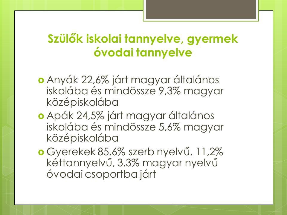 Szülők iskolai tannyelve, gyermek óvodai tannyelve  Anyák 22,6% járt magyar általános iskolába és mindössze 9,3% magyar középiskolába  Apák 24,5% járt magyar általános iskolába és mindössze 5,6% magyar középiskolába  Gyerekek 85,6% szerb nyelvű, 11,2% kéttannyelvű, 3,3% magyar nyelvű óvodai csoportba járt