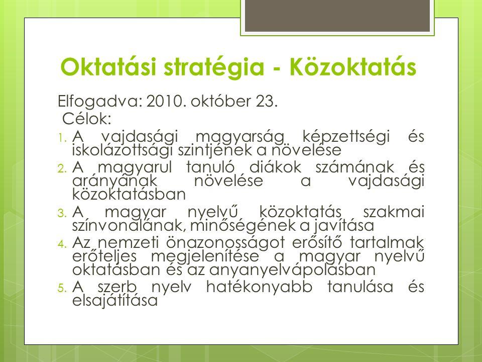 Oktatási stratégia - Közoktatás Elfogadva: 2010. október 23.