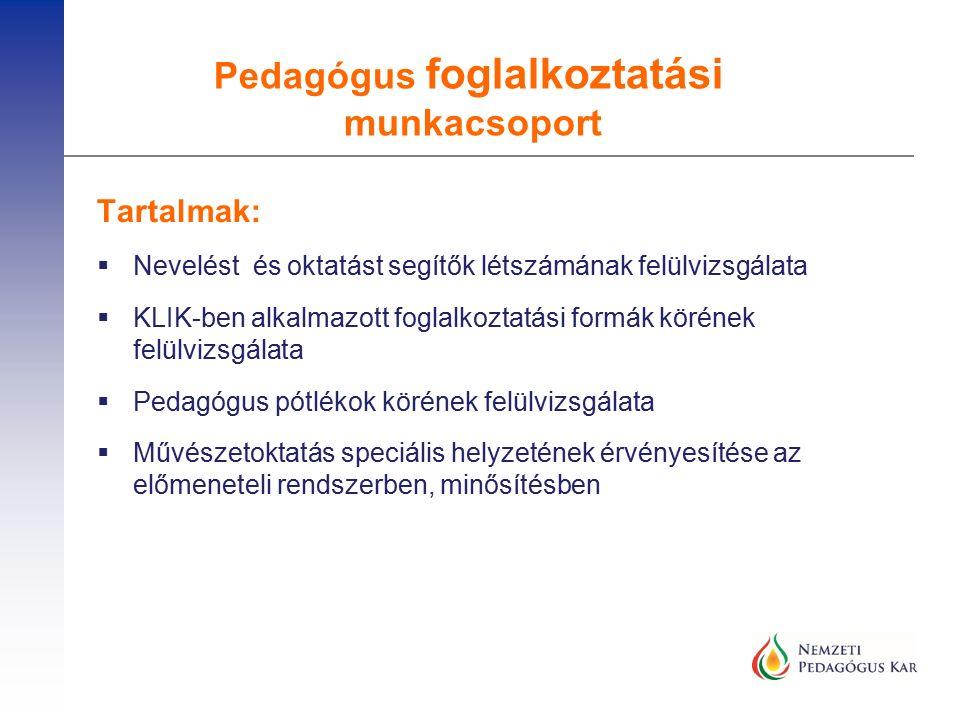  Továbbképzések megújítása  120 óra legyen ingyen, amiben a pedagógusnak fejlődnie kell  A képzések akkreditációjának szigorítása  Mentorok képzése – vagy a gyakornokok a minősítésig maradjanak az intézményben  Infrastruktúra fejlesztése  Minden intézményre kiterjedő állagfelmérés  Minimális eszközök biztosítása minden intézményben  Hiányzó tornatermek  Korszerű eszközök – IKT Óvodai javaslatok III.