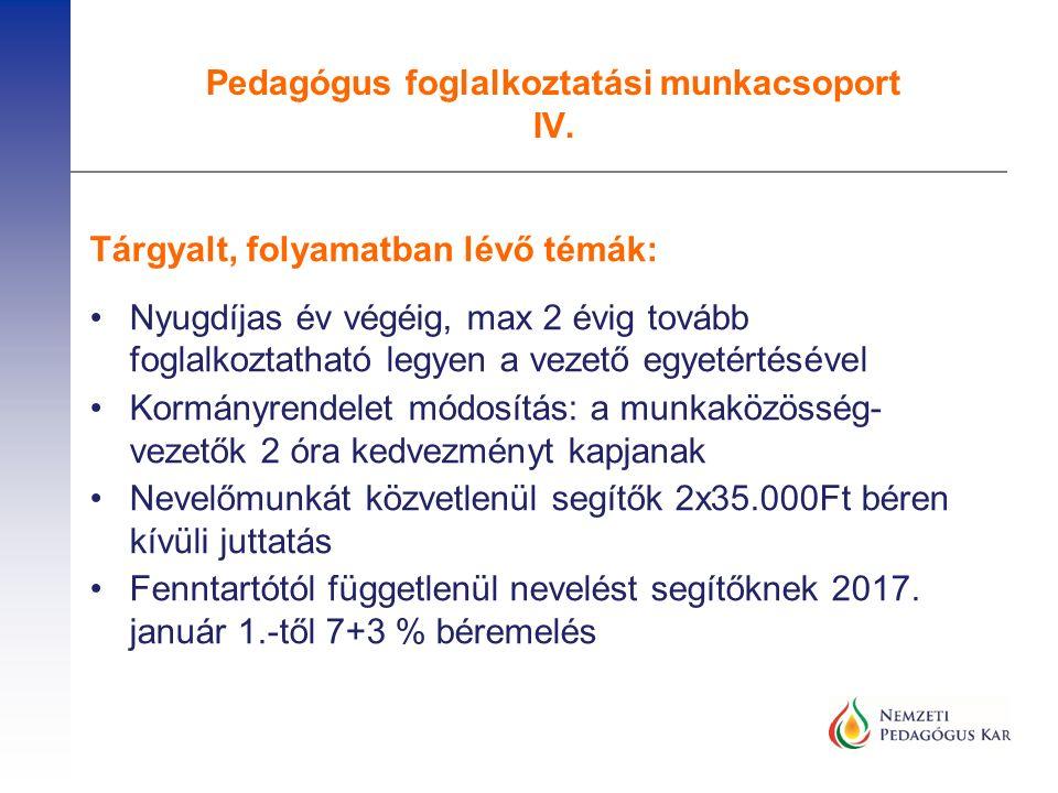 Amit javasolt és megvalósult: Az ideiglenesen PII fokozatba soroltak eljárás nélküli végleges besorolása A nyugdíj előtt állók eljárás nélküli PII-be sorolása A 2017-es minősítési eljárásokra intézményvezetők jelentkezésének lehetősége Az önértékelés, tanfelügyelet és minősítés adminisztratív terheinek csökkentése Vannak még javaslatok, több munkacsoport, és az NPK tagozata is foglalkozik ezzel, az EMMI és az OH részéről folyamatos és konstruktív az együttműködés.