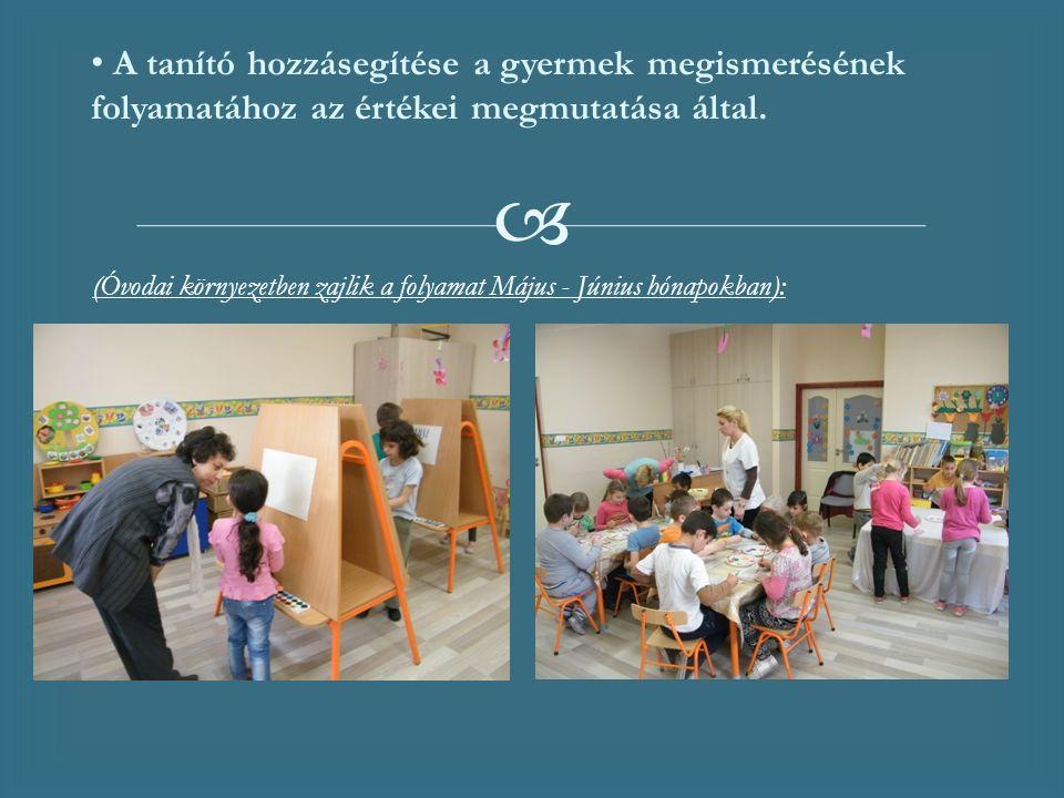  (Óvodai környezetben zajlik a folyamat Május - Június hónapokban): A tanító hozzásegítése a gyermek megismerésének folyamatához az értékei megmutatása által.