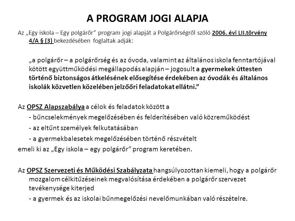 """A PROGRAM JOGI ALAPJA Az """"Egy iskola – Egy polgárőr program jogi alapját a Polgárőrségről szóló 2006."""
