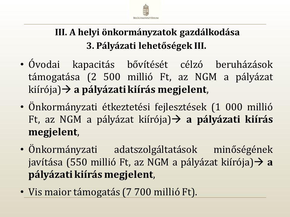 Óvodai kapacitás bővítését célzó beruházások támogatása (2 500 millió Ft, az NGM a pályázat kiírója)  a pályázati kiírás megjelent, Önkormányzati étkeztetési fejlesztések (1 000 millió Ft, az NGM a pályázat kiírója)  a pályázati kiírás megjelent, Önkormányzati adatszolgáltatások minőségének javítása (550 millió Ft, az NGM a pályázat kiírója)  a pályázati kiírás megjelent, Vis maior támogatás (7 700 millió Ft).
