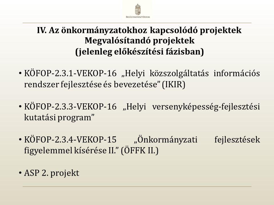 """KÖFOP-2.3.1-VEKOP-16 """"Helyi közszolgáltatás információs rendszer fejlesztése és bevezetése (IKIR) KÖFOP-2.3.3-VEKOP-16 """"Helyi versenyképesség-fejlesztési kutatási program KÖFOP-2.3.4-VEKOP-15 """"Önkormányzati fejlesztések figyelemmel kísérése II. (ÖFFK II.) ASP 2."""