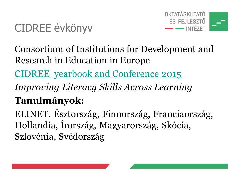 CIDREE évkönyv Consortium of Institutions for Development and Research in Education in Europe CIDREE yearbook and Conference 2015 Improving Literacy Skills Across Learning Tanulmányok: ELINET, Észtország, Finnország, Franciaország, Hollandia, Írország, Magyarország, Skócia, Szlovénia, Svédország