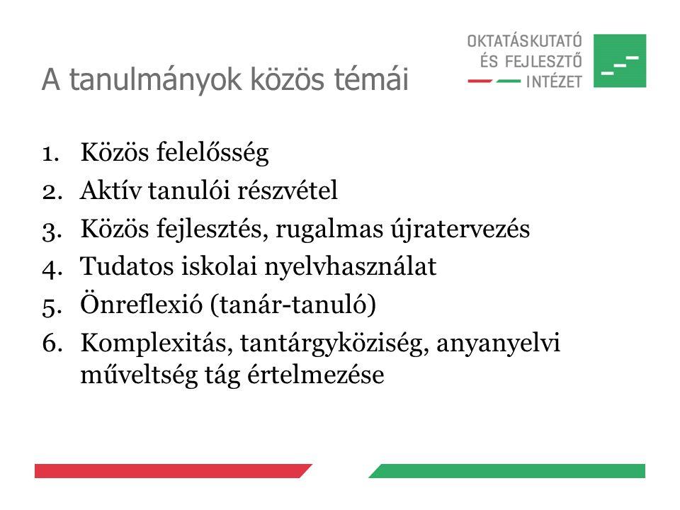 A tanulmányok közös témái 1.Közös felelősség 2.Aktív tanulói részvétel 3.Közös fejlesztés, rugalmas újratervezés 4.Tudatos iskolai nyelvhasználat 5.Önreflexió (tanár-tanuló) 6.Komplexitás, tantárgyköziség, anyanyelvi műveltség tág értelmezése
