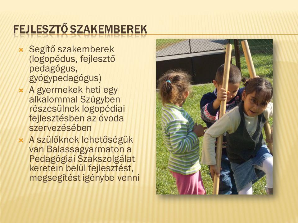  Segítő szakemberek (logopédus, fejlesztő pedagógus, gyógypedagógus)  A gyermekek heti egy alkalommal Szügyben részesülnek logopédiai fejlesztésben az óvoda szervezésében  A szülőknek lehetőségük van Balassagyarmaton a Pedagógiai Szakszolgálat keretein belül fejlesztést, megsegítést igénybe venni