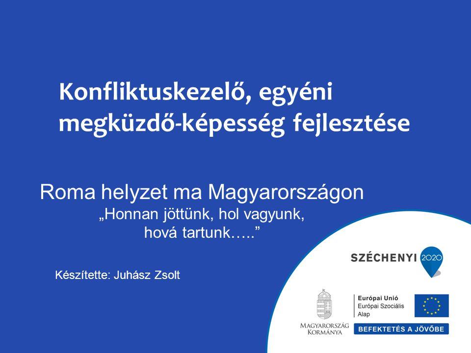 """Konfliktuskezelő, egyéni megküzdő-képesség fejlesztése Roma helyzet ma Magyarországon """"Honnan jöttünk, hol vagyunk, hová tartunk….. Készítette: Juhász Zsolt"""