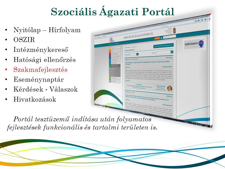 Szociális Ágazati Portál Nyitólap – Hírfolyam OSZIR Intézménykereső Hatósági ellenőrzés Szakmafejlesztés Eseménynaptár Kérdések - Válaszok Hivatkozások Portál tesztüzemű indítása után folyamatos fejlesztések funkcionális és tartalmi területen is.