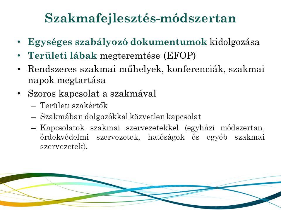 Szakmafejlesztés-módszertan Egységes szabályozó dokumentumok kidolgozása Területi lábak megteremtése (EFOP) Rendszeres szakmai műhelyek, konferenciák, szakmai napok megtartása Szoros kapcsolat a szakmával – Területi szakértők – Szakmában dolgozókkal közvetlen kapcsolat – Kapcsolatok szakmai szervezetekkel (egyházi módszertan, érdekvédelmi szervezetek, hatóságok és egyéb szakmai szervezetek).