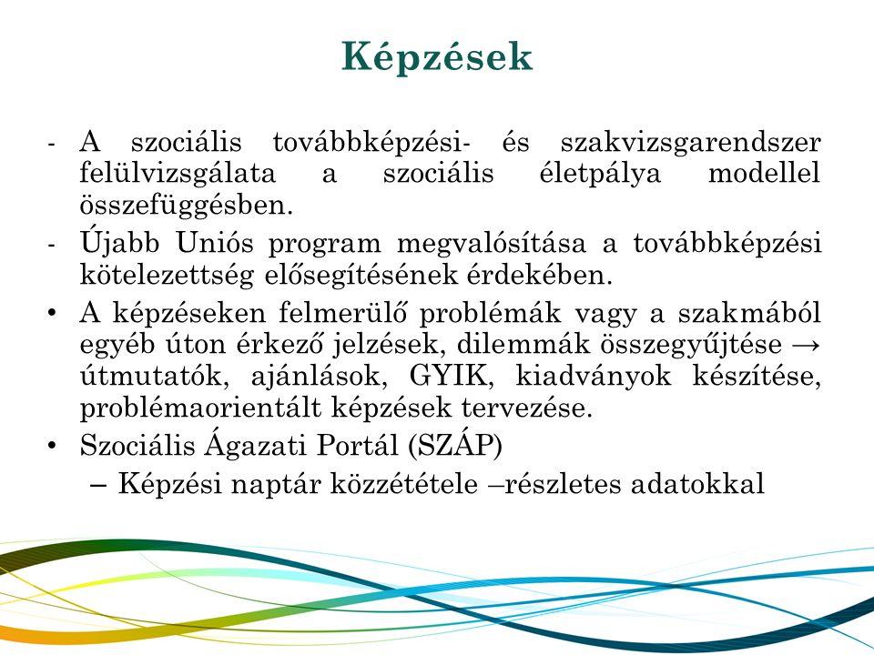 Képzések -A szociális továbbképzési- és szakvizsgarendszer felülvizsgálata a szociális életpálya modellel összefüggésben. -Újabb Uniós program megvaló