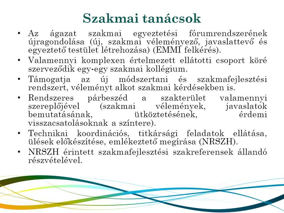 Szakmai tanácsok Az ágazat szakmai egyeztetési fórumrendszerének újragondolása (új, szakmai véleményező, javaslattevő és egyeztető testület létrehozás