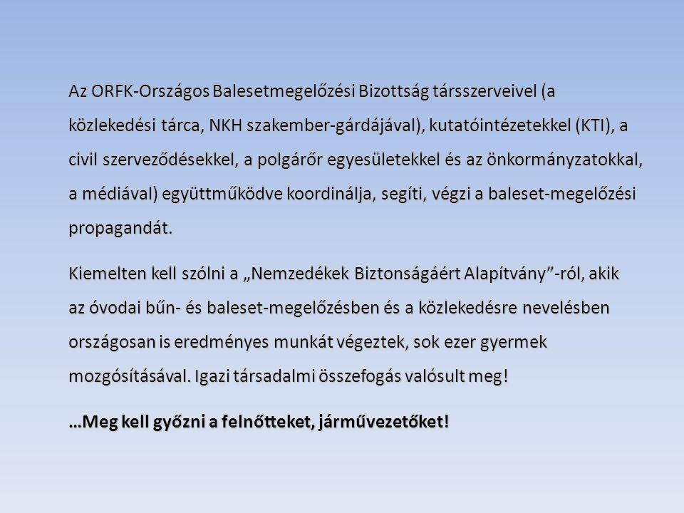 Az ORFK-Országos Balesetmegelőzési Bizottság társszerveivel (a közlekedési tárca, NKH szakember-gárdájával), kutatóintézetekkel (KTI), a civil szerveződésekkel, a polgárőr egyesületekkel és az önkormányzatokkal, a médiával) együttműködve koordinálja, segíti, végzi a baleset-megelőzési propagandát.