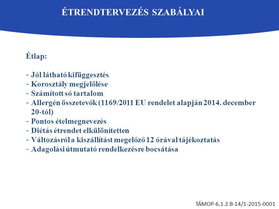 ÉTRENDTERVEZÉS SZABÁLYAI TÁMOP-6.1.2.B-14/1-2015-0001 Étlap: - Jól látható kifüggesztés - Korosztály megjelölése - Számított só tartalom - Allergén összetevők (1169/2011 EU rendelet alapján 2014.