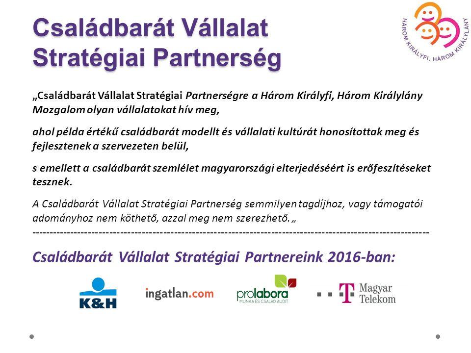 """Családbarát Vállalat Stratégiai Partnerség """"Családbarát Vállalat Stratégiai Partnerségre a Három Királyfi, Három Királylány Mozgalom olyan vállalatokat hív meg, ahol példa értékű családbarát modellt és vállalati kultúrát honosítottak meg és fejlesztenek a szervezeten belül, s emellett a családbarát szemlélet magyarországi elterjedéséért is erőfeszítéseket tesznek."""