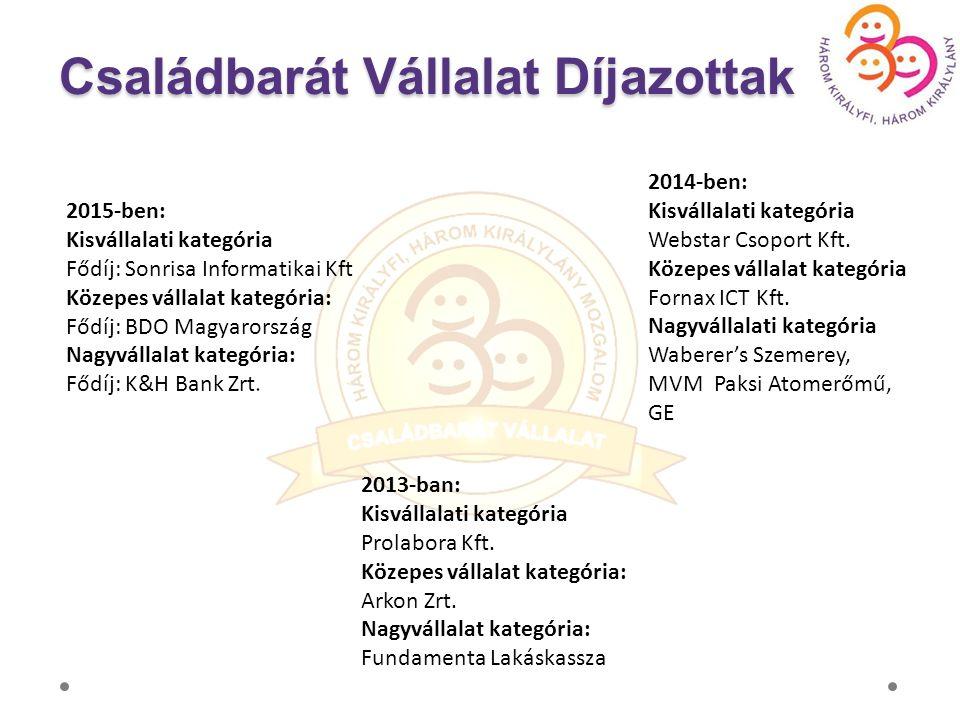 2015-ben: Kisvállalati kategória Fődíj: Sonrisa Informatikai Kft Közepes vállalat kategória: Fődíj: BDO Magyarország Nagyvállalat kategória: Fődíj: K&H Bank Zrt.