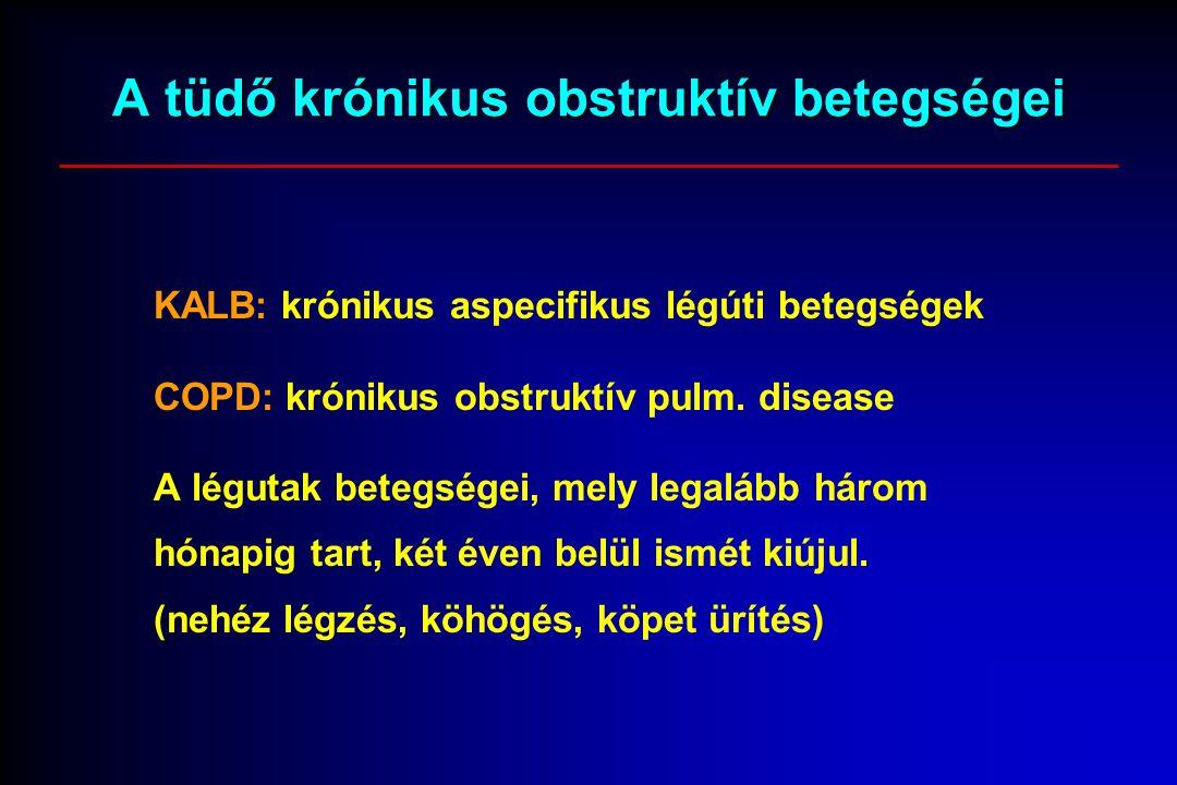 A tüdő krónikus obstruktív betegségei KALB: krónikus aspecifikus légúti betegségek COPD: krónikus obstruktív pulm. disease A légutak betegségei, mely