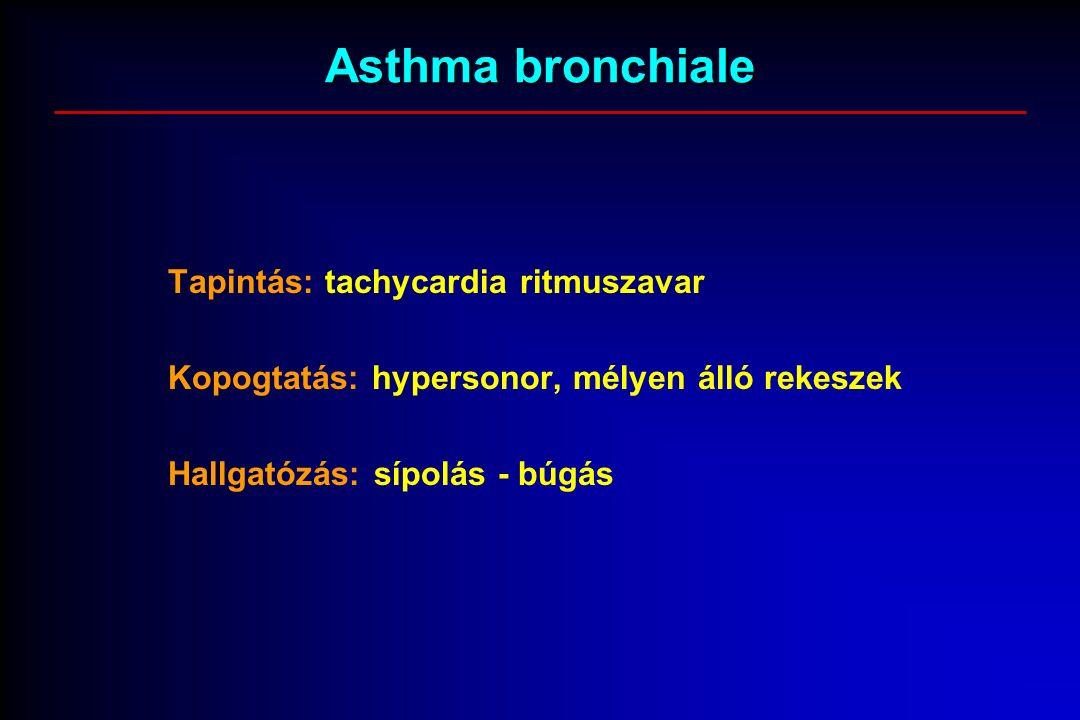 Asthma bronchiale Tapintás: tachycardia ritmuszavar Kopogtatás: hypersonor, mélyen álló rekeszek Hallgatózás: sípolás - búgás
