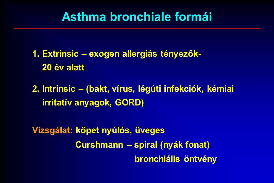 Asthma bronchiale formái 1. Extrinsic – exogen allergiás tényezők- 20 év alatt 2. Intrinsic – (bakt, vírus, légúti infekciók, kémiai irritatív anyagok