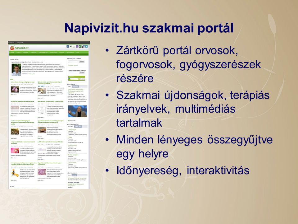 Napivizit.hu szakmai portál Zártkörű portál orvosok, fogorvosok, gyógyszerészek részére Szakmai újdonságok, terápiás irányelvek, multimédiás tartalmak