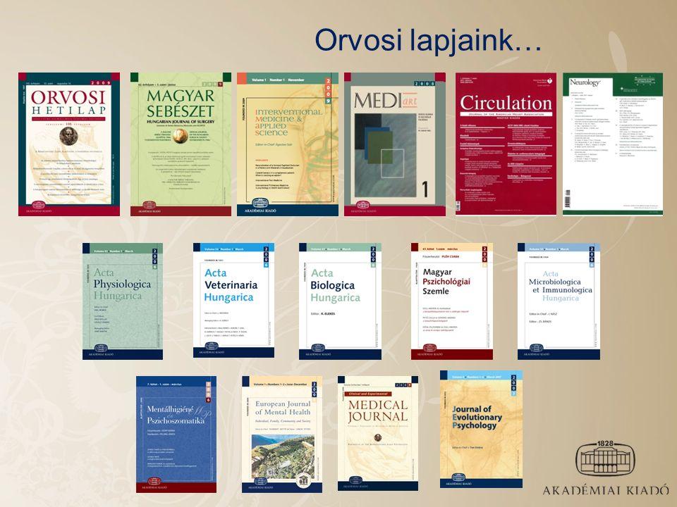 Indexálás: AK lapok fontos adatbázisokban Automatikus metaadatok – gyors és pontos megjelenés az indexekben Web of Science Scopus PubMed Chemical Abstracts Current Contents EMBASE Math.