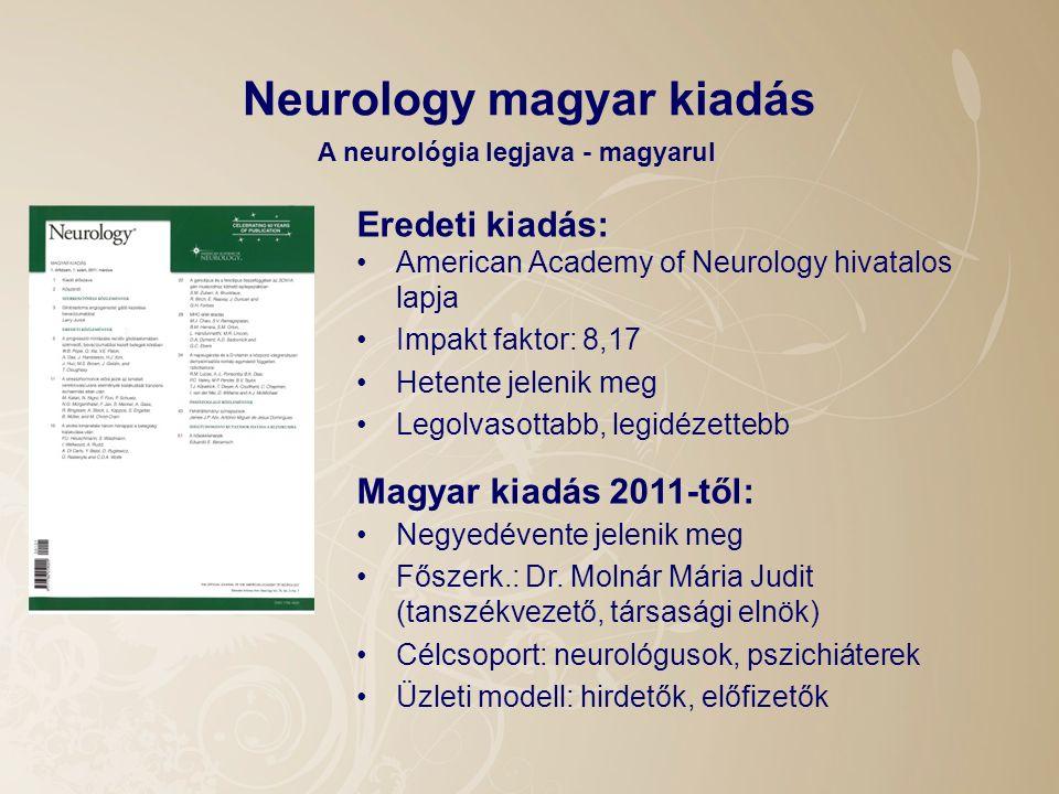 Neurology magyar kiadás American Academy of Neurology hivatalos lapja Impakt faktor: 8,17 Hetente jelenik meg Legolvasottabb, legidézettebb A neurológ