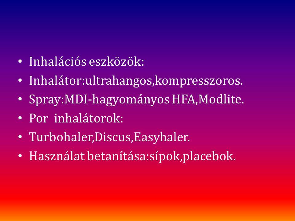 Inhalációs eszközök: Inhalátor:ultrahangos,kompresszoros. Spray:MDI-hagyományos HFA,Modlite. Por inhalátorok: Turbohaler,Discus,Easyhaler. Használat b
