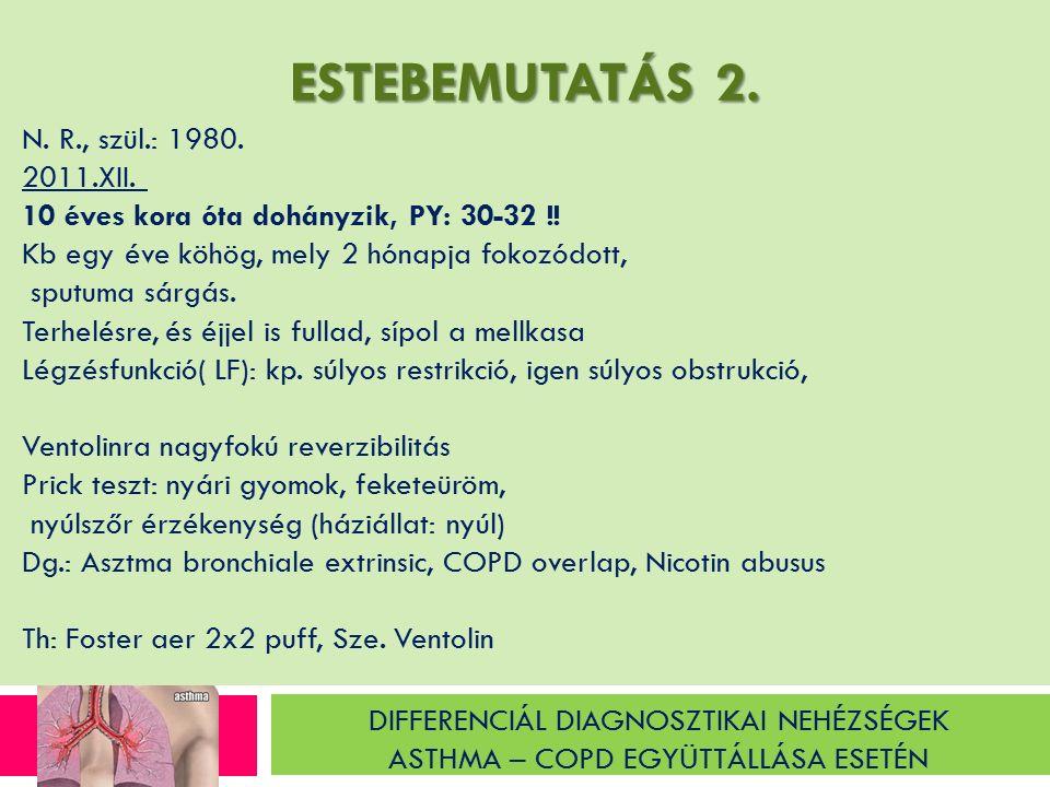 ESTEBEMUTATÁS 2. N. R., szül.: 1980. 2011.XII. 10 éves kora óta dohányzik, PY: 30-32 !.