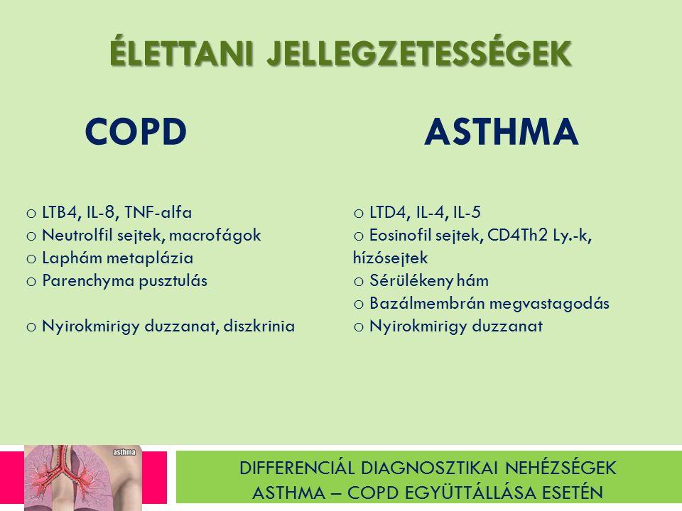 DIFFERENCIÁL DIAGNOSZTIKAI NEHÉZSÉGEK ASTHMA – COPD EGYÜTTÁLLÁSA ESETÉN ASTHMA COPD o LTB4, IL-8, TNF-alfa o Neutrolfil sejtek, macrofágok o Laphám metaplázia o Parenchyma pusztulás o Nyirokmirigy duzzanat, diszkrinia o LTD4, IL-4, IL-5 o Eosinofil sejtek, CD4Th2 Ly.-k, hízósejtek o Sérülékeny hám o Bazálmembrán megvastagodás o Nyirokmirigy duzzanat ÉLETTANI JELLEGZETESSÉGEK