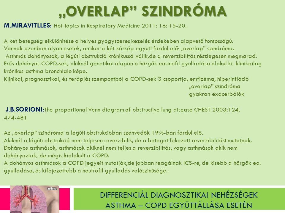 """DIFFERENCIÁL DIAGNOSZTIKAI NEHÉZSÉGEK ASTHMA – COPD EGYÜTTÁLLÁSA ESETÉN """"OVERLAP SZINDRÓMA M.MIRAVITLLES: Hot Topics in Respiratory Medicine 2011: 16: 15-20."""
