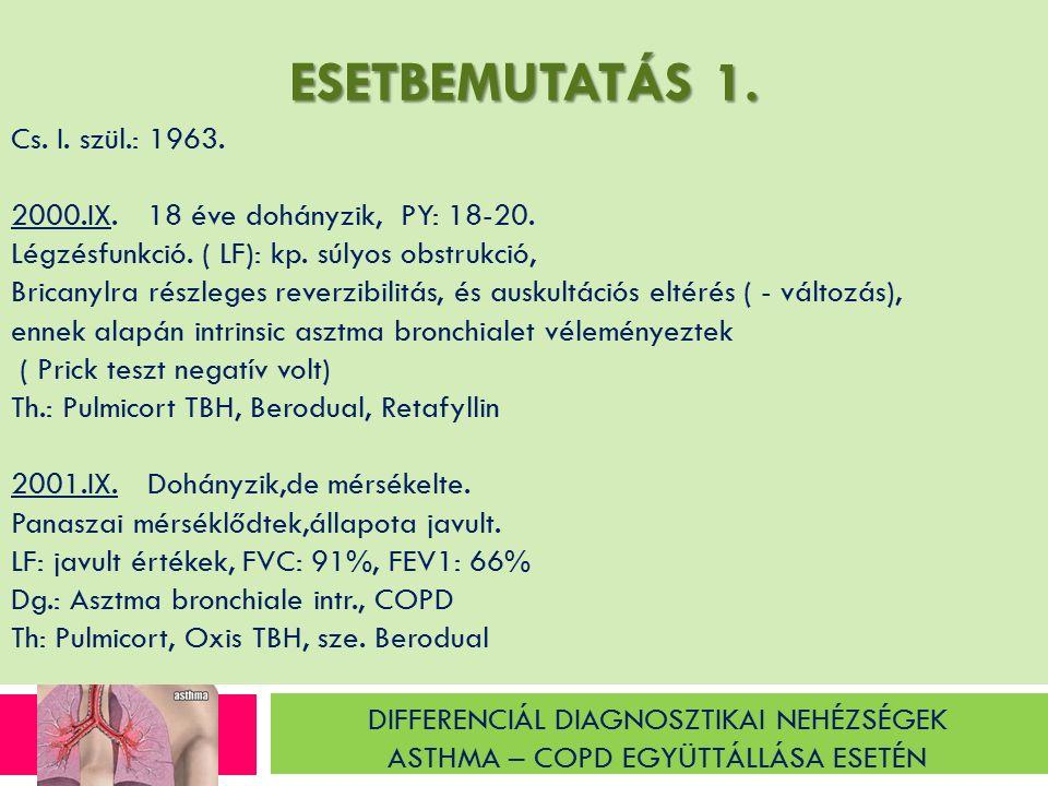 DIFFERENCIÁL DIAGNOSZTIKAI NEHÉZSÉGEK ASTHMA – COPD EGYÜTTÁLLÁSA ESETÉN ESETMEBUTATÁS 2.