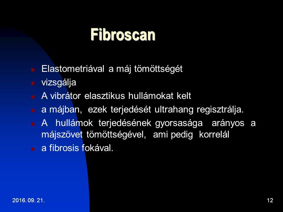 Fibroscan Elastometriával a máj tömöttségét vizsgálja A vibrátor elasztikus hullámokat kelt a májban, ezek terjedését ultrahang regisztrálja.