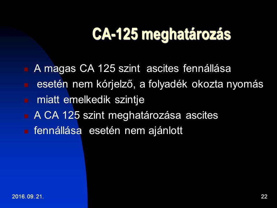 CA-125 meghatározás CA-125 meghatározás A magas CA 125 szint ascites fennállása esetén nem kórjelző, a folyadék okozta nyomás miatt emelkedik szintje A CA 125 szint meghatározása ascites fennállása esetén nem ajánlott 2016.