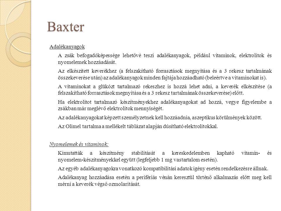 Baxter Adalékanyagok A zsák befogadóképessége lehetővé teszi adalékanyagok, például vitaminok, elektrolitok és nyomelemek hozzáadását. Az elkészített