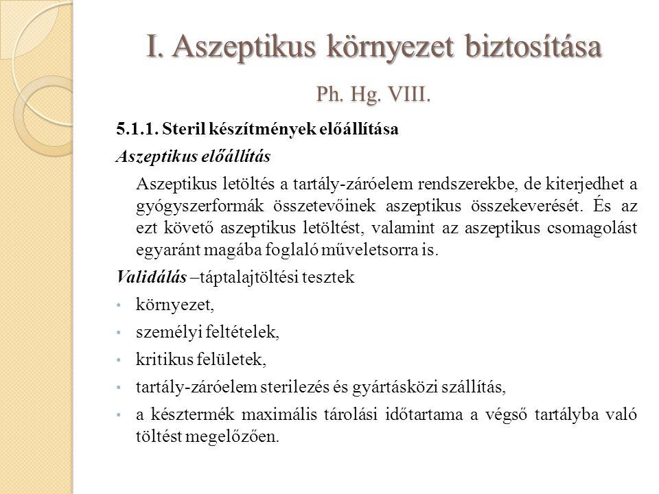 I. Aszeptikus környezet biztosítása Ph. Hg. VIII. 5.1.1. Steril készítmények előállítása Aszeptikus előállítás Aszeptikus letöltés a tartály-záróelem