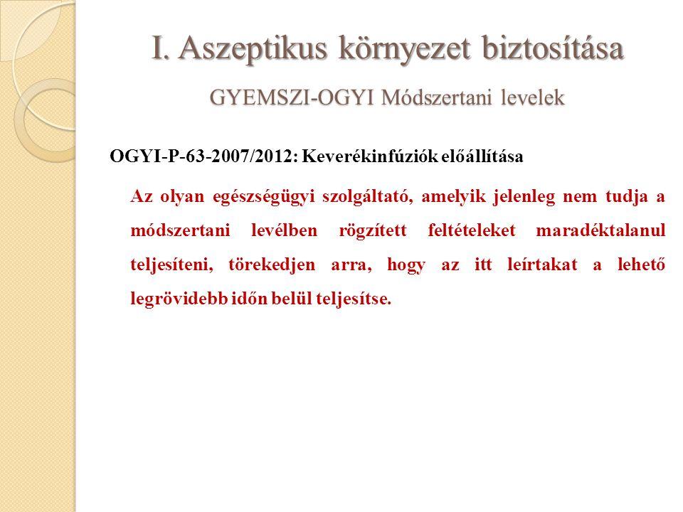 I. Aszeptikus környezet biztosítása GYEMSZI-OGYI Módszertani levelek OGYI-P-63-2007/2012: Keverékinfúziók előállítása Az olyan egészségügyi szolgáltat